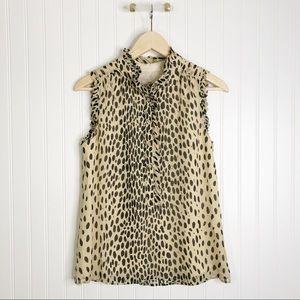 Jcrew sleeveless button tan black silk blouse 2